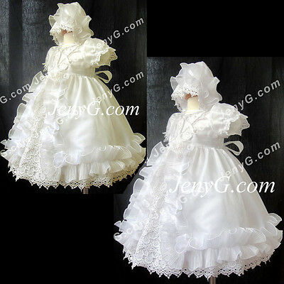 C7 Baby Christening Baptism First Holy Communion Church Formal Bonnet Dress Gown