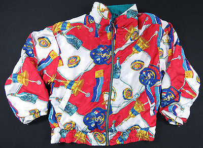 Vtg 80S 90S Nautical Baroque All Over Print Bomber Jacket Swag Hip Hop Euc