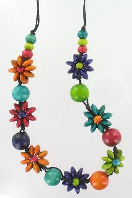 Wooden Flower Necklace and Bracelet Set