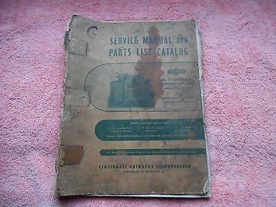 Orig 174 Pg Cincinnati No. 2 Centerless EA OM Grinder Parts List Service Manual