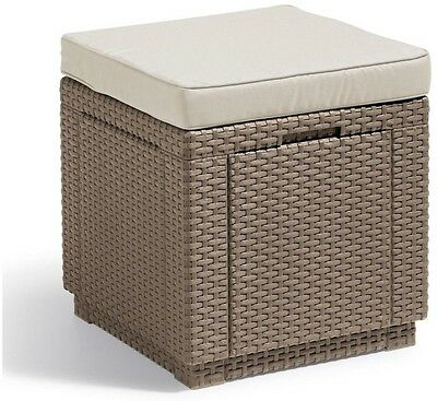 Rattan Cube Chair Outdoor Footstool Garden Seat Storage Patio Cushion Cappuccino