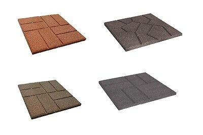 "16"" x 16"" Reversible Brickface Etna Pattern 100% Recycled Rubber Paver 3 Colors"