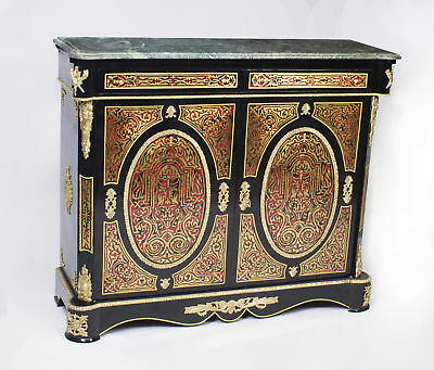 Vintage Louis Revival Boulle Marble Top Side Cabinet