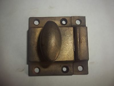 Vtg Cast Iron Cabinet Door Latch Turn Knob Brass Tone Cupboard Catch Victorian