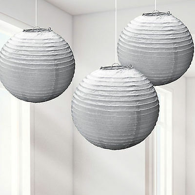 3 Pk Silver Hanging Lanterns Round Paper Lamps New Year Party Decorations - 24cm