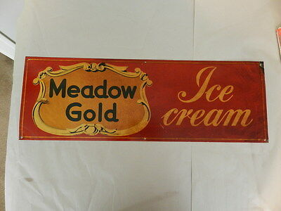 Vintage Advertising Sign- Meadow Gold Ice Cream Sign- Vintage Drive-In- Dairy