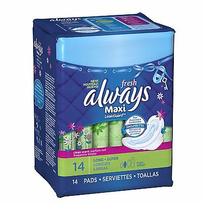 Always Maxi Long/Super with Wings, Fresh Pads - 14ct  (12 PACK) + Makeup Sponge