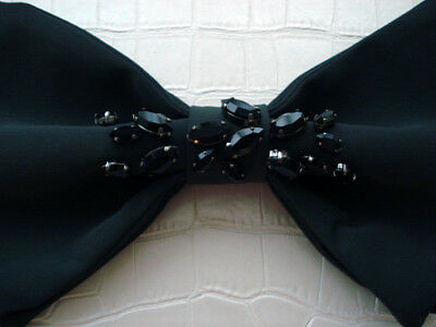 NWT**Brunello Cucinelli**BOW tie with black Crystal embelish**Italy**$630**Gray