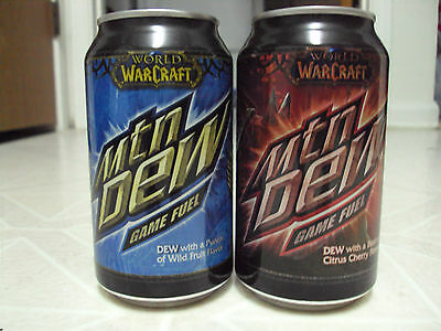 Mountain Dew World of Warcraft Game Fuel BLUE soda can!! WOW Mtn Dew 12oz