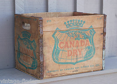 Vntage 1957 Advertising Canada Dry Soda Pop Bottle Wooden Crate Carrier Tool Box