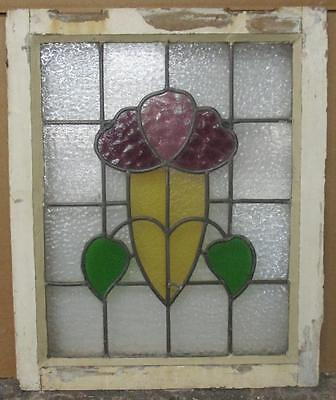 """OLD ENGLISH LEADED STAINED GLASS WINDOW Pretty Floral Design 18.75"""" x 22.75"""""""
