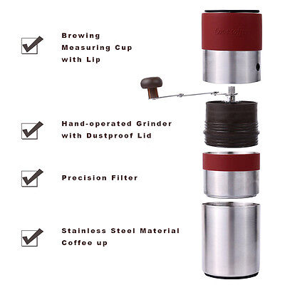 Manual Coffee Grinder Brewer All-in-one Set with Filter,Ceramic Burr Espresso