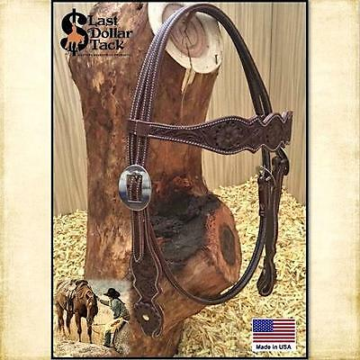 Western Headstall ~ First Grade Sadesa Leather ~ Floral Tooling ~Chocolate Brown