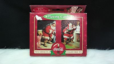 Coca-Cola 2 Decks In A Collectible Tin Christmas Playing Cards (Sealed)