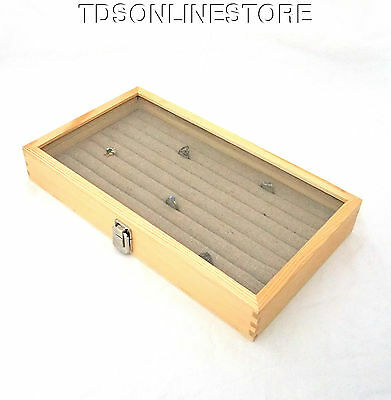 Natural Wood Glass Top Display Case W 8 Row Tufted Burlap Ring Insert