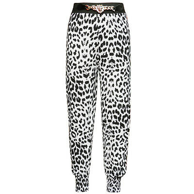 Girls Black & White Animal Print Harem Pants Trousers Size / Age 7 to 8