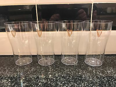 4x Guinness Polycarbonate Pint Glasses Pub Shed Bar Man Cave