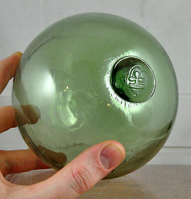 Vintage Hand Blown Green Glass Fishing Buoy Float w/ Clover or Club Maker Mark