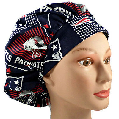 Women's Bouffant Surgical Scrub Hat Cap in New England Patriots Squares