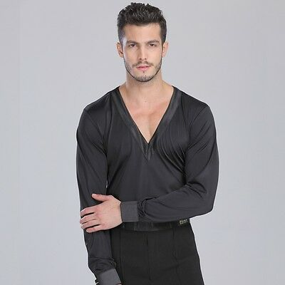 Mens Spandex Long Sleeve Latin Dance Bodysuit V Neck T-shirt Tee New Dancewear