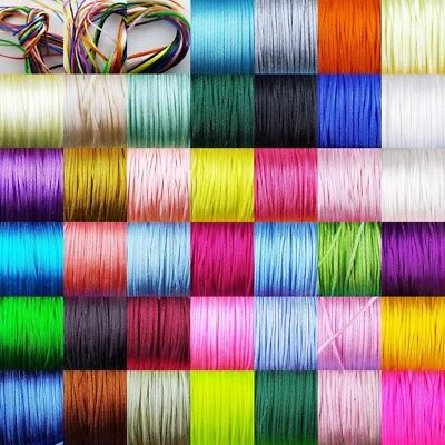 39 COLOUR 1mm 1.5mm Satin Bug Tail Cord Jewellery Costume Thin Rats Buy 1 2 4 8m