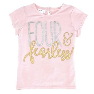 "Mud Pie Baby Girls Birthday Princess Collection ""Four & Fearless"" Shirt, 4T"