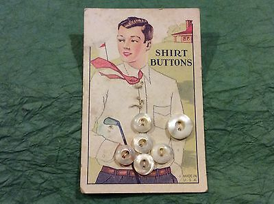 Nice Antique Buttons On Golf Advertising Cardboard Golfer In Tie With Club