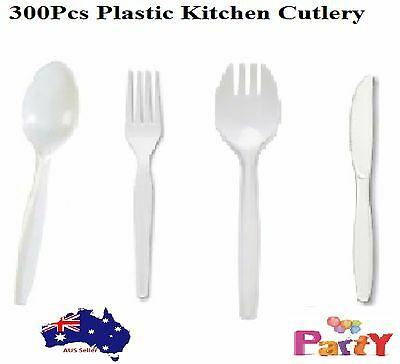 300 pcs Disposable party BBQ White Plastic Cutlery Forks Knives Spoons Spork