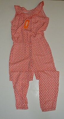 NWT Gymboree Sunny Safari Girls Long Jumpsuit Coral Geo Diamond Romper size 10