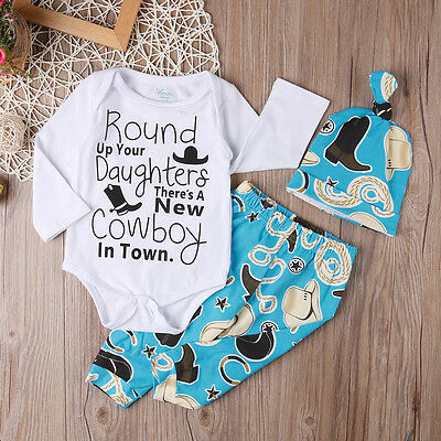 3pcs Newborn Baby Boy Girl Cotton Romper Bodysuit Tops+Pants Outfits Clothes Set