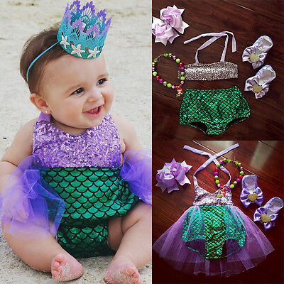 Baby Girls Kids Mermaid Bikini Swimwear Swimsuit Bathing Suit Costume US Stock