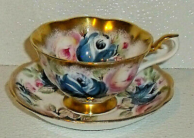 Royal Albert Cup And Saucer SUMMER BOUNTY SERIES - Sapphire Vtg Heavy Gold