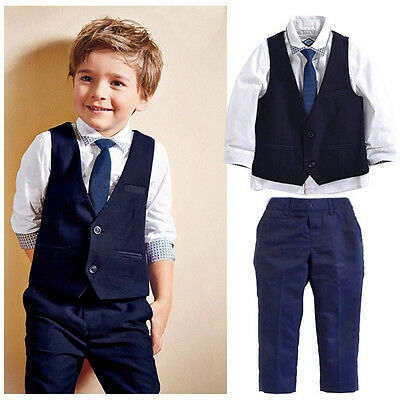 Toddler Kids Boy Tops Shirt Waistcoat Tie Pants Formal Suit Outfits Set US Stock
