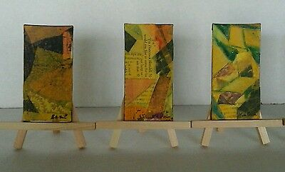 A Set of Three Original Abstract Mixed Media  Paintings by K.A.Davis