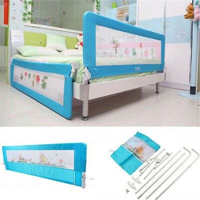 180cm Folding Child Toddler Bed Rail Safety Protection Guard Breathable Blue UK