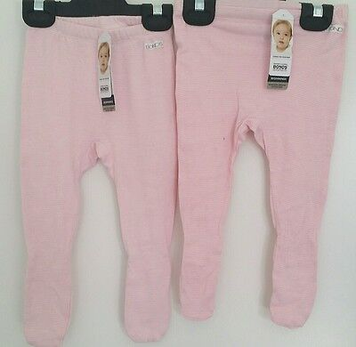 2 x NEW ORGANIC BONDS Baby Girl Soft Footed Pant Bottoms - 6 - 12month - $8 each