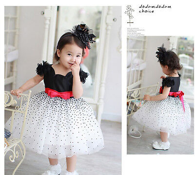 Clothes Baby Girls Kids Dresses Starry Sky Dot Bow Party Formal Dress US Stock
