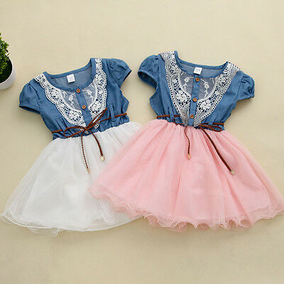 Kids Baby Girls Party Lace Flower Tulle Denim Dress Casual Dresses US Stock