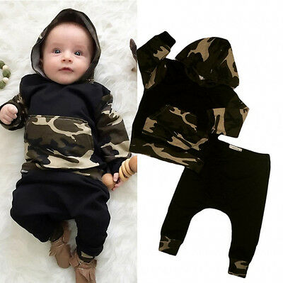 2PCS Toddler Baby Boys Camo Hooded Tops Pants Home Outfits Set Clothes US Stock
