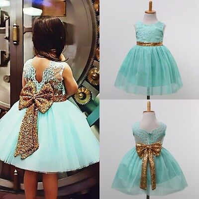 USA Sequin Kids Girl Princess Party Wedding Bridesmaid Formal Gown Dress Dresses