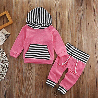 USA Toddler Baby Girls Stripe Tops Hoodie Pants Home Outfits Set Clothes Pink