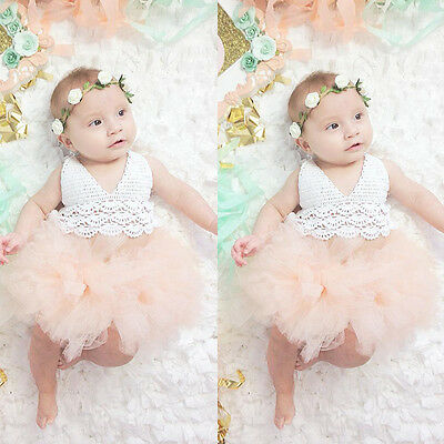 Kids Baby Girl Dress Lace Tulle Bodysuit Romper Jumpsuit Outfit Sunsuit US Stock