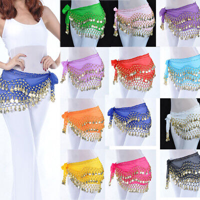 3 Rows Chiffon Belly Dance Hip Skirt Scarf Wrap Belt 128 Goin&Silver Coins New