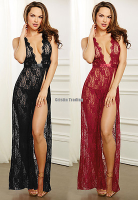 Women DeepV Lace Floral Hollow Out Long Mesh See-through Sleepwear Sexy Lingerie