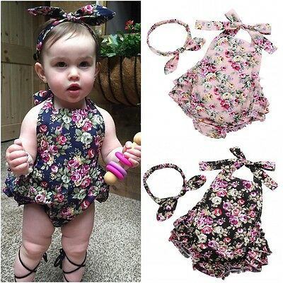 Floral Baby Girls Ruffle Romper Jumpsuit Headband Outfits Set Clothes US Stock
