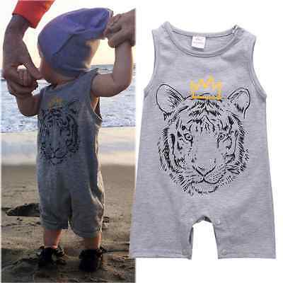 US Stock Tiger Newborn Baby Boys Cotton Romper Jumpsuit Playsuit Outfits Clothes