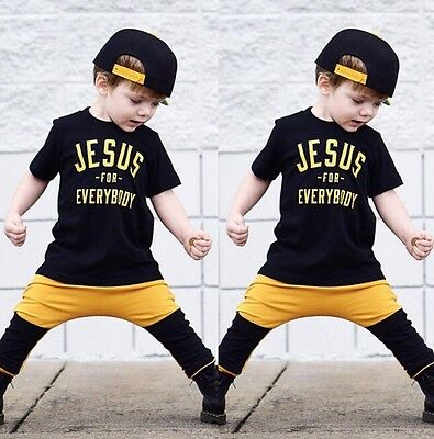 US Stock Toddler Kids Boy Summer Tops T-shirt Pants Outfits 2Pcs Set Clothes