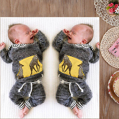 US Seller Baby Boys Kids Toddler Long Sleeve T shirt+Pants Set Bodysuit Outfits