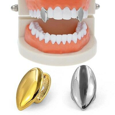2x Gold/Silver Plated Fangs Single Cap Teeth Grillz Hip Hop Tooth Grills Jewelry