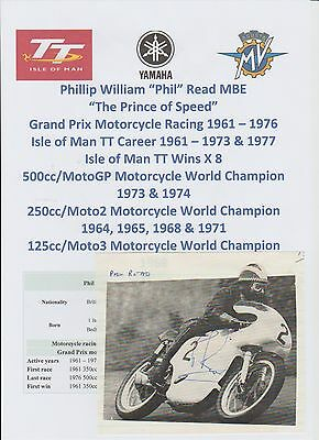 Phil Read Motorcycle Racer 1961-1976 World Champ Iomtt Rare Orig Signed Picture